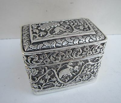 Old Solid Silver Decorative Elephant Scene Indian Box