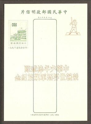 Taiwan 1969 Unused Postcard Featuring Baseball Hitter with green print of SG632