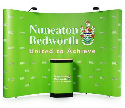 Advantage 4x3 Curved Exhibition Display Stand- Complete Pop-up Kit- Inc Graphics