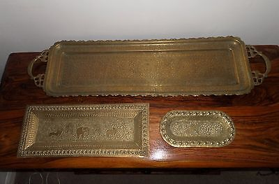 Stunning Antique Indian Brass Trays x 3