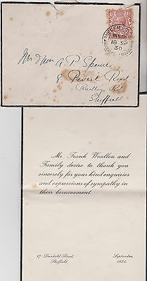1930 KGV MOURNING COVER WITH 1½d STAMP FRANK WOOLLEN FAMILY SYMPATHY SHEFFIELD