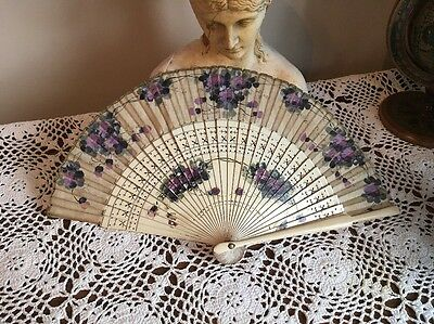 Antique Hand Painted Hand Held Fan