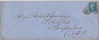 1860 QV LONDON COVER WITH 2d PENNY BLUE STAMP PLATE 7 TO SHAFTESBURY DOUBLE =47=
