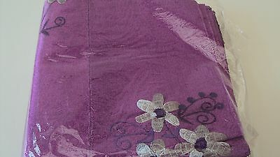 Nigerian Aso Oke Gele (Headtie) Purple with Silver & Dark Purple Flowers 1 Piece
