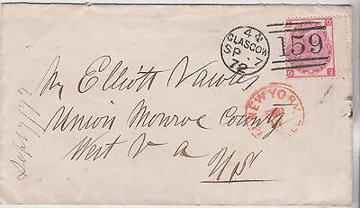 1872 QV GLASGOW MARITIME COVER WITH 3d ROSE STAMP TO ELLIOT VAUTES WEST VIRGINIA