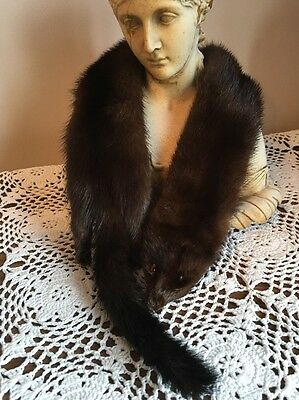1930's Real Mink Fur Taxidermy . Heads Feet Tails Glass Eyes Immaculate