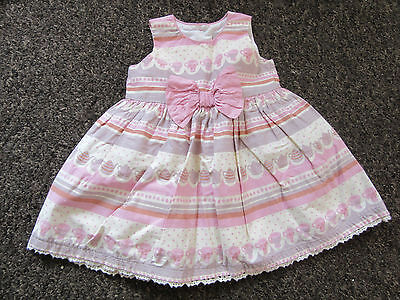Baby Girls NEXT Dress Age 0-3 Months Tea Party Striped Pattern Bow Lace Trim