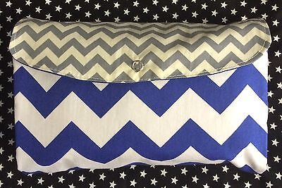 Blue & Grey Chevron Print Nappy Wallet