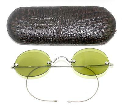 Antique GREEN Lens Rimless Saddle Bridge SUNGLASSES Spectacles & Case