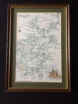"Vintage Framed Scottish Map ""Orkney"""