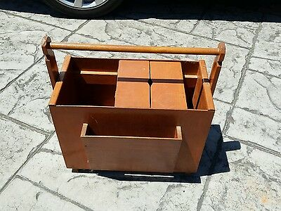 Vintage old craft sewing wooden  storage box