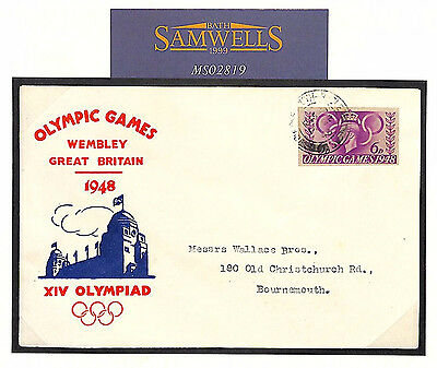 MS2819 1948 GB UNUSUAL OLYMPICS FDC Wembley *6d Airletter Stationery Cut-out*