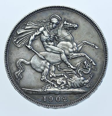 1902 Crown, British Silver Coin From Edward Vii Gvf