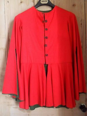size 10- 12 RED AND GREEN   HAND MADE ELF COSTUME TUNIC ~ THEATRE PANTOMIME