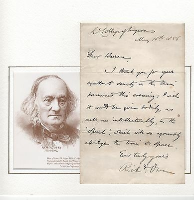 Hand Written Letter Headed Royal College Of Surgeons 1856 Signed Richard Owen