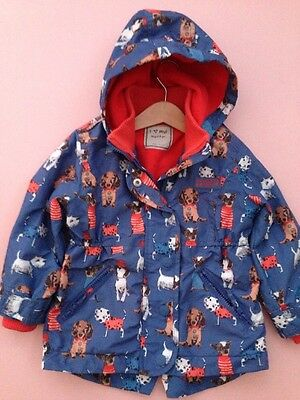 *NEXT* Girls printed Shower dog hood Coat jacket (2-3 Years) blue  A118
