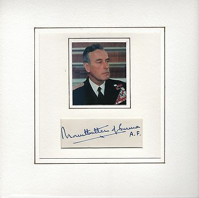 Hand Signed Autograph For Lord Mountbatten Of Burma Last Viceroy Of India