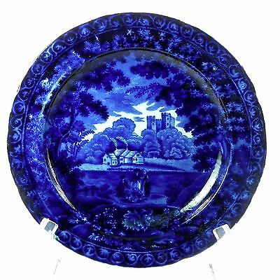 Early 19th C Staffordshire Clews Castle Views Dark Flow Blue Transfer Plate 7.75