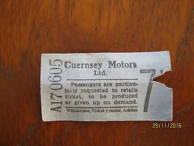 Bus ticket GUERNSEY MOTORS LTD WILLIAMSON TICKET BUS TICKET