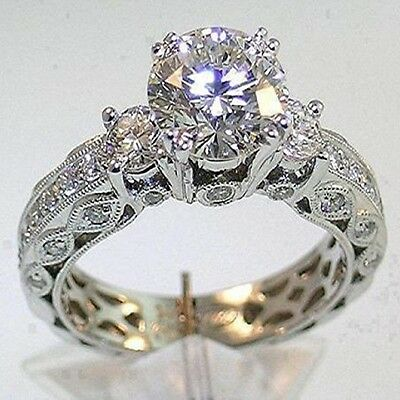 Dazzling Jewelry 7mm Diamonique CZ 14KT White Gold Filled Wedding Ring Size 7/N