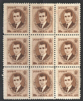 Persia 1966 Mohammad Shah 10D Sc#1373 Blk9 Mnh Stamps 1Pb818!!