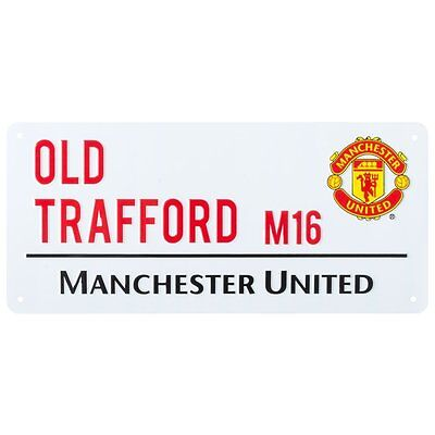 Manchester United FC Metal Street Sign Official Old Trafford Stadium Plaque