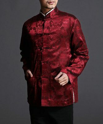 Chinese Tai Chi Kungfu Reversible Red Black Jacket Blazer 100% Silk Brocade 101