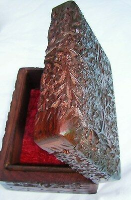 Wooden Box. Hand Carved. Lined Interior. Sheesham Wood. New.