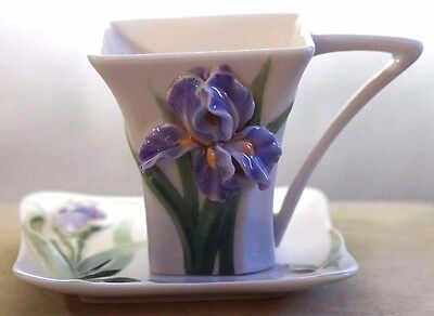 FRANZ PORCELAIN Collectors Cup ~ IRIS DEMI TASSE  CUP AND SAUCER ~ FZ00819 ~ Box