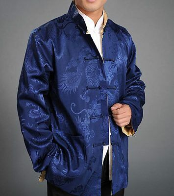 Chinese Tai Chi Kungfu Reversible Blue Gold Jacket Blazer 100% Silk Brocade 105