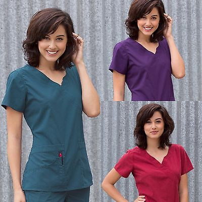New Women Peaches Uniforms Natalie Scrub Banded Crossover Xs-Xl Top #4990