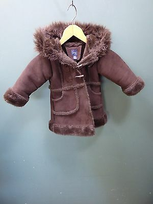 Baby Gap Brown Suede Winter Button Up Coat With Hood - UK Size 18-24 Months