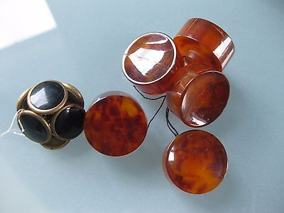 Lot 5 boutons style ambre + 6 style onyx VINTAGE !!!