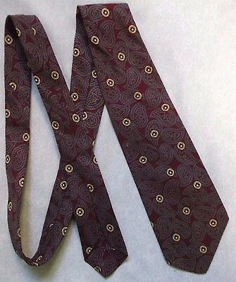TOOTAL RED QUALITY TIE VINTAGE RETRO 1950s 1960s MOD ALL COTTON BURGUNDY PAISLEY
