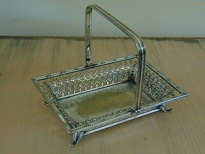 Antique Silver Plate Pierced Basket with Handle