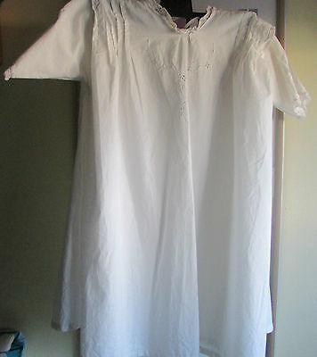 Linen Nightdress possibly Victorian with Applique Work, Embroidery and Lace