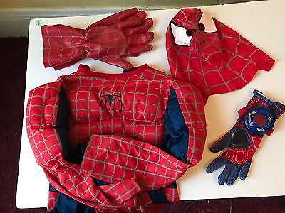 Spiderman Costume 7–10 Muscles Head Cover, Noisemaker Glove, Adult Gloves