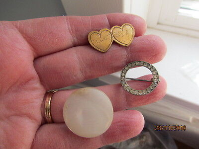 Antique Victorian Rose Ruth Bob Sweetheart Rhinestone & Mother of Pearl Brooches