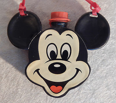 DISNEY MICKEY MOUSE HEAD CANTEEN PLASTIC SHOULDER STRAP VINTAGE 1960s