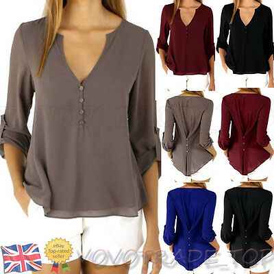 US Women Chiffon Blouse Tops Ladies Summer Casual Long Sleeves T Shirt plus size