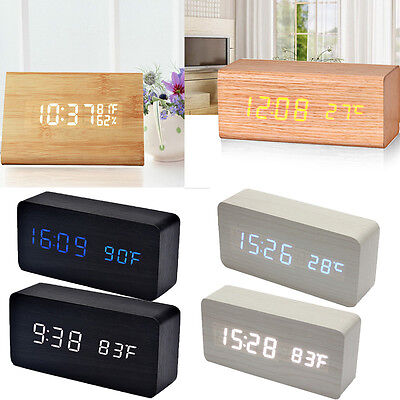 Classical Digital LED Voice Control Wood Wooden Alarm Clock Calendar Thermometer