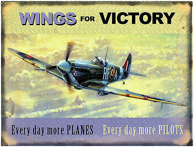 New SPITFIRE, WINGS FOR VICTORY enamel style tin metal advertising sign 15x20cm