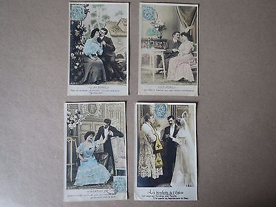 4 Vintage French Romance  Postcards
