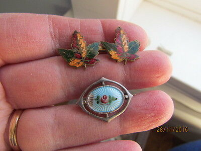 Antique Victorian Deco Sterling Silver Guilloche Enamel & Maple Leaf Brooches