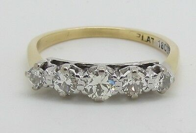 Dazzling Vintage 18ct Gold and Platinum 5 Stone 0.60ct Diamond Ring