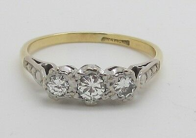 Dazzling Vintage 18ct Gold and Platinum Diamond 3 Stone Ring