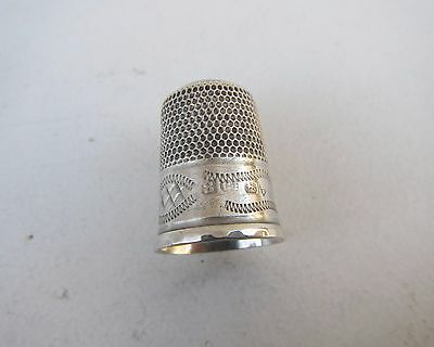 Old Solid Silver Thimble - Hallmarked Chester 1909