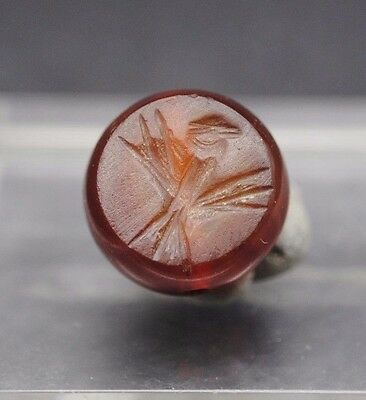 Nice Carnelian Carved Seal With Interesting Impression
