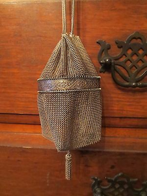 Antique/vintage Small Victorian Chain Mail Drawstring Purse Handbag, 6""
