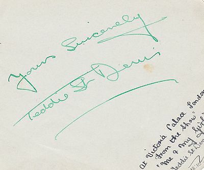 Teddie St. Denis 1938 signed page `Remember the Lambeth Walk`, `Me and My Girl`